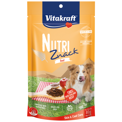 Vitakraft, Dog Treats, Air Dried, Nutri Znack, Beef Skin & Coat Care
