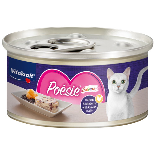 Vitakraft, Cat Wet Food, Poesie Colours, Chicken & Riceberry with Cheese in Jelly (By Carton)