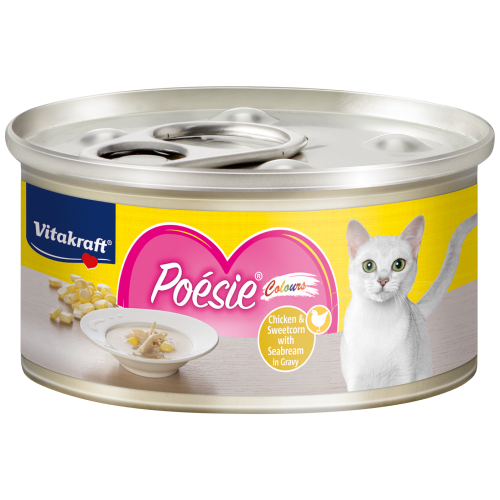 Vitakraft, Cat Wet Food, Poesie Colours, Chicken & Sweetcorn with Seabream in Gravy (By Carton)