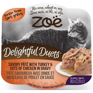 Zoe, Cat Wet Food, Grain Free, Delightful Duets Savory Pate with Turkey & Cuts of Chicken in Gravy (By Carton)
