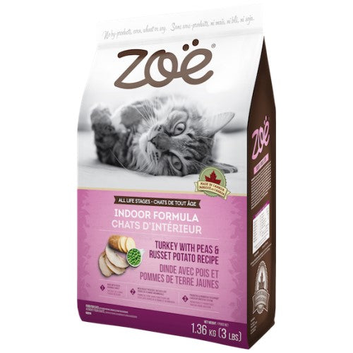 Zoe, Cat Dry Food, Indoor, Turkey with Peas & Russet Potato (2 Sizes)