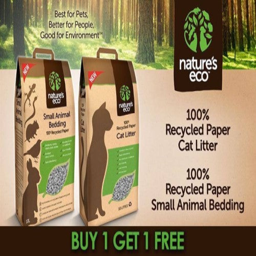 Nature's Eco, Cat Hygiene, Litter, Recycled Paper Cat Litter, Buy 1 Get 1 FREE (2 Sizes)