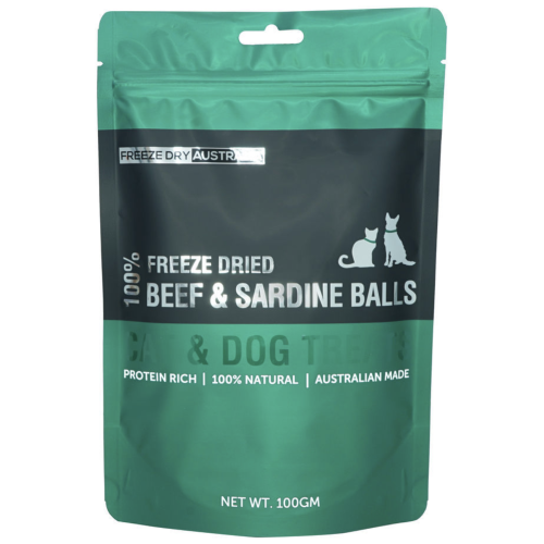 Freeze Dry Australia, Dog & Cat Treats, Freeze Dried, Beef & Sardine Balls