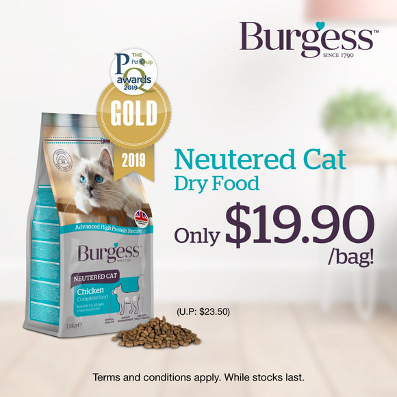 Burgess, Cat Dry Food, Neutered Cat, Chicken, 1 for $19.90