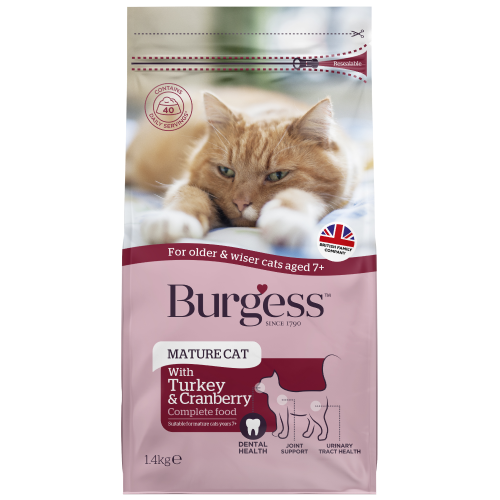 Burgess, Cat Dry Food, Mature, Turkey & Cranberry