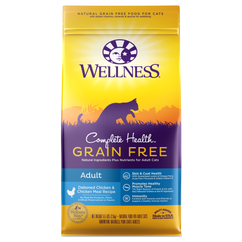 Wellness Complete Health, Cat Dry Food, Grain Free, Adult, Deboned Chicken & Chicken Meal