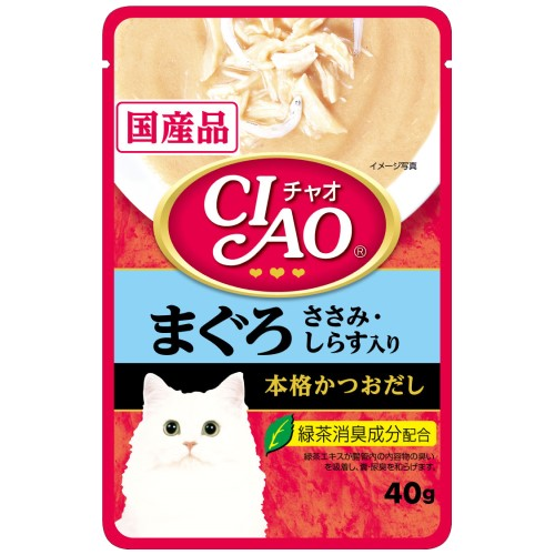 Ciao, Cat Wet Food, Creamy Soup Pouch, Tuna (Maguro) & Chicken Fillet Topping Shirasu (By Carton)