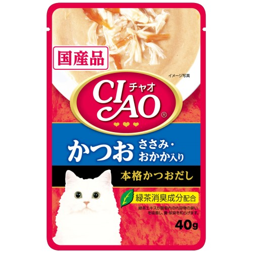 Ciao, Cat Wet Food, Creamy Soup Pouch, Tuna (Katsuo) & Chicken Fillet Topping Dried Bonito (By Carton)