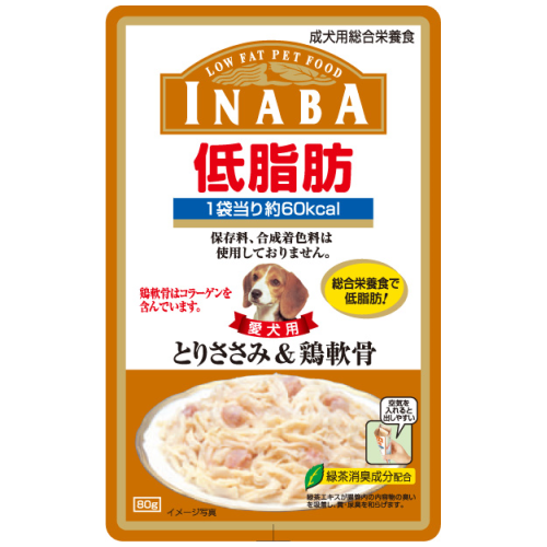 Inaba, Dog Treats, Low Fat Pouch, Chicken Fillet & Cartilage in Jelly (By Box)