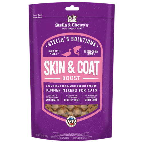 Stella & Chewy's, Cat Food, Freeze Dried, Stella's Solutions, Skin & Coat Boost, Cage-Free Duck & Wild Caught Salmon
