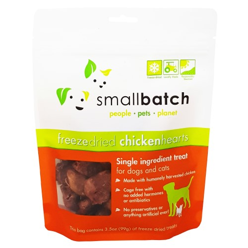 Smallbatch, Dog & Cat Treats, Freeze Dried, Single Ingredient Heart Treat, Chicken Hearts