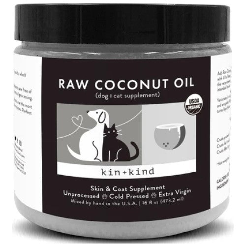 Kin+Kind, Dog & Cat Healthcare, Supplements, Raw Coconut Oil (2 Sizes)