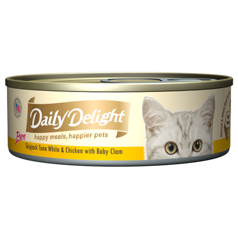 Daily Delight, Cat Wet Food, Pure, Skipjack Tuna White & Chicken with Baby Clam