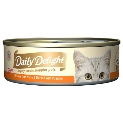 Daily Delight, Cat Wet Food, Pure, Skipjack Tuna White & Chicken with Pumpkin
