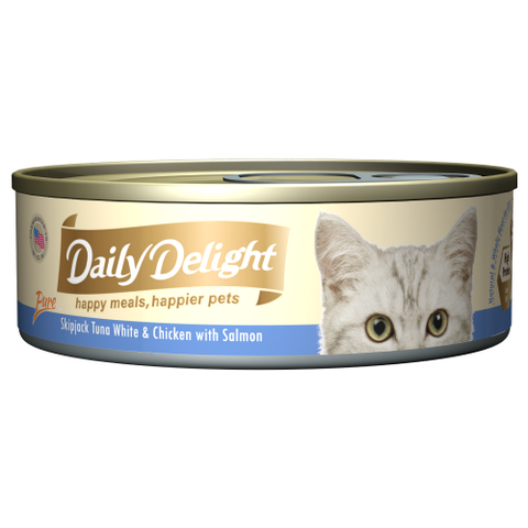 Daily Delight, Cat Wet Food, Pure, Skipjack Tuna White & Chicken with Salmon
