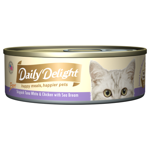 Daily Delight, Cat Wet Food, Pure, Skipjack Tuna White & Chicken with Sea Bream (By Carton)