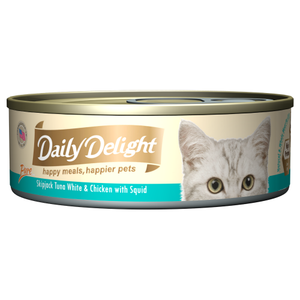 Daily Delight, Cat Wet Food, Pure, Skipjack Tuna White & Chicken with Squid (By Carton)