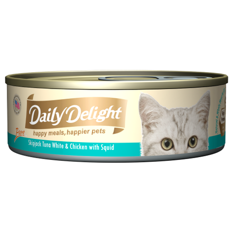 Daily Delight, Cat Wet Food, Pure, Skipjack Tuna White & Chicken with Baby Squid