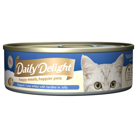 Daily Delight, Cat Wet Food, Jelly, Skipjack Tuna White with Sardine in Jelly
