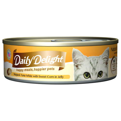 Daily Delight, Cat Wet Food, Jelly, Skipjack Tuna White with Sweet Corn in Jelly (By Carton)
