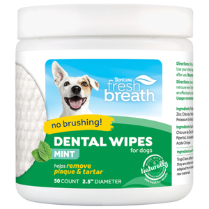 TropiClean, Dog & Cat Hygiene, Oral & Dental Care, Fresh Breath, Dental Wipes for Dogs & Cats