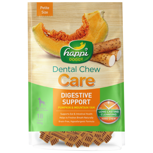 Happi Doggy, Dog Hygiene, Oral & Dental Care, Care Dental Chew, Digestive Support, Pumpkin & Mountain Yam