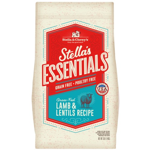 Stella & Chewy's, Dog Dry Food, Grain Free Kibble, Stella's Essentials, Grass-Fed Lamb & Lentils (2 Sizes)