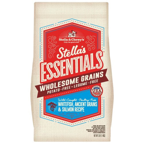 Stella & Chewy's, Dog Dry Food,  Wholesome Grain Kibble, Stella's Essentials, Whitefish, Ancient Grains & Salmon (2 Sizes)