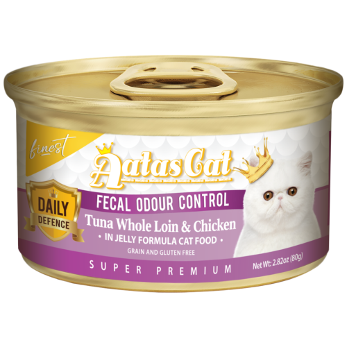 Aatas Cat, Cat Wet Food, Finest Daily Defence, Fecal Odour Control, Tuna Whole Loin & Chicken (By Carton)