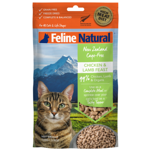 Feline Natural, Cat Food, Freeze Dried, Chicken & Lamb