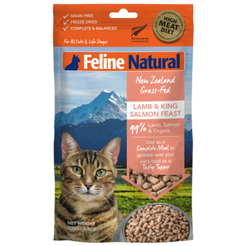 Feline Natural, Cat Food, Freeze Dried, Lamb & Salmon