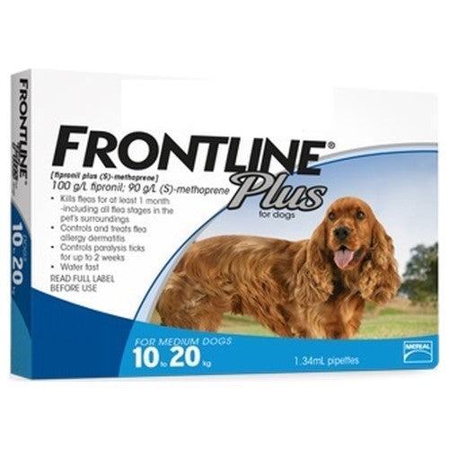 Frontline Plus, Dog Healthcare, Fleas & Ticks, Dogs 10kg to 20kg (Medium Dogs)