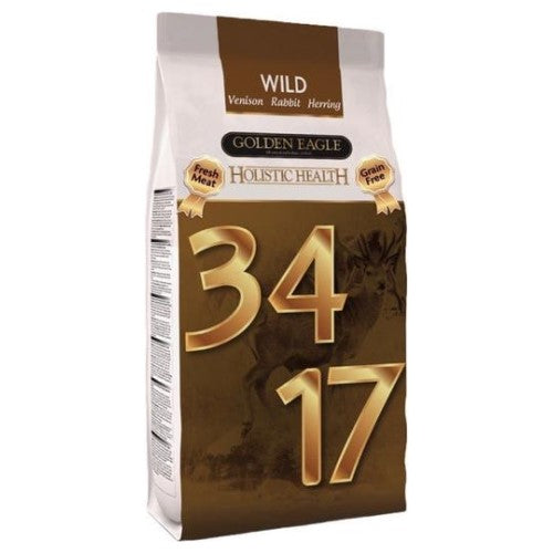 Golden Eagle, Dog Dry Food, Grain Free, Wild 34/17, Fresh Venison, Herring & Rabbit
