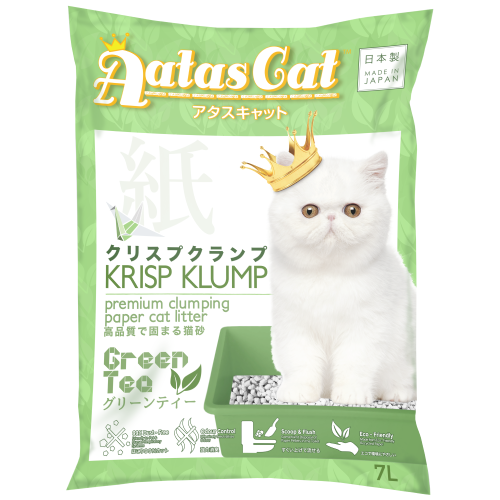 Aatas Cat, Cat Hygiene, Litter, Krisp Klump, Paper Litter, Green Tea
