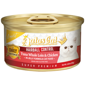 Aatas Cat, Cat Wet Food, Finest Daily Defence, Hairball Control, Tuna Whole Loin & Chicken (By Carton)