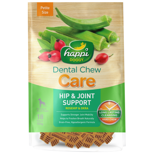 Happi Doggy, Dog Hygiene, Oral & Dental Care, Care Dental Chew, Hip & Joint Support, Rosehip & Okra