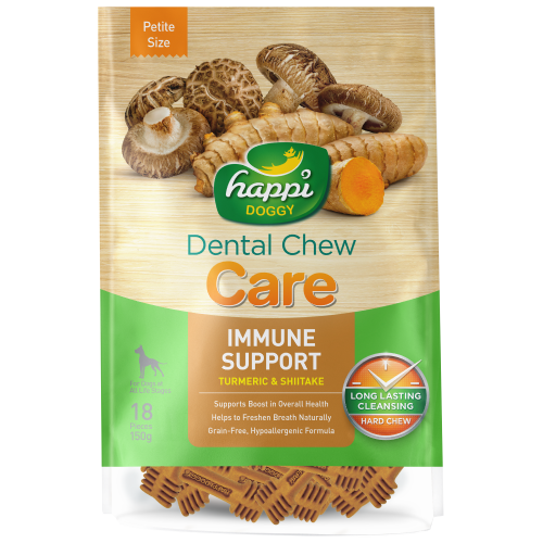 Happi Doggy, Dog Hygiene, Oral & Dental Care, Care Dental Chew, Immune Support, Tumeric & Shiitake
