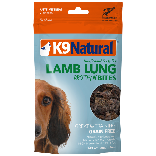 K9 Natural, Dog Treats, Air Dried, Lamb Lung Protein Bites