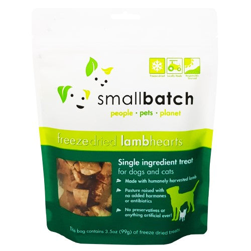 Smallbatch, Dog & Cat Treats, Freeze Dried, Single Ingredient Heart Treat, Lamb Hearts