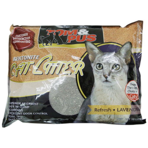 Tom & Pus, Cat Hygiene, Litter, Bentonite Cat Sand, Lavender