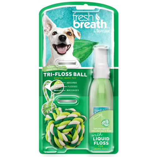 TropiClean, Dog Hygiene, Oral & Dental Care, Fresh Breath, Liquid Floss & TriFlossBall