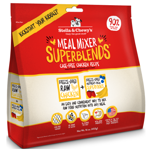 Stella & Chewy's, Dog Food, Meal Mixers, Freeze Dried, Superblends, Cage-Free Chicken