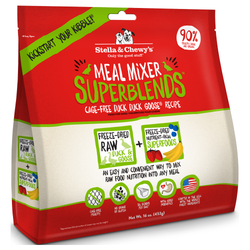 Stella & Chewy's, Dog Food, Meal Mixers, Freeze Dried, Superblends, Cage-Free Duck Duck Goose