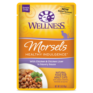 Wellness Complete Health, Cat Wet Food, Grain Free, Healthy Indulgence, Morsels, Chicken & Chicken Liver