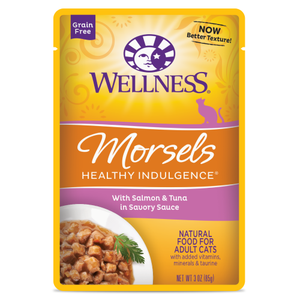 Wellness Complete Health, Cat Wet Food, Grain Free, Healthy Indulgence, Morsels, Salmon & Tuna