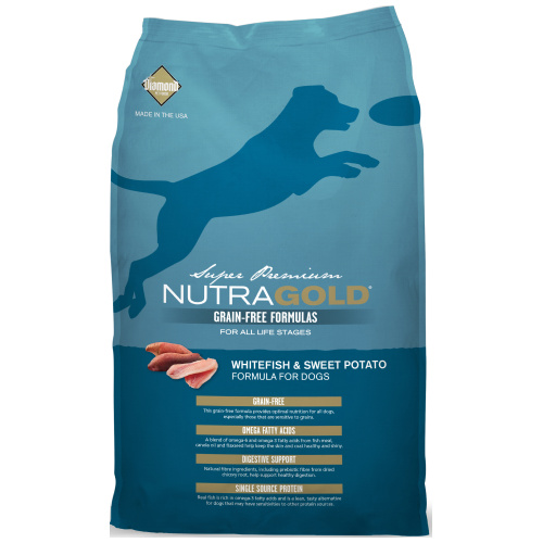 NutraGold, Dog Dry Food, Grain Free, Whitefish & Sweet Potato