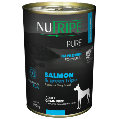 Nutripe, Dog Wet Food, Pure, Adult, Salmon & Green Tripe