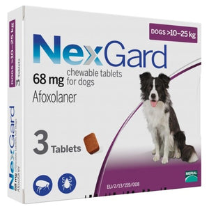 NexGard, Dog Healthcare, Fleas & Ticks, Soft Chew, Dogs 10kg to 25kg (Medium Dogs)