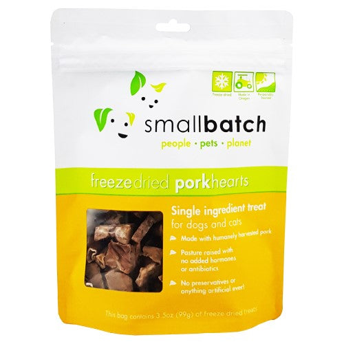 Smallbatch, Dog & Cat Treats, Freeze Dried, Single Ingredient Heart Treat, Pork Hearts