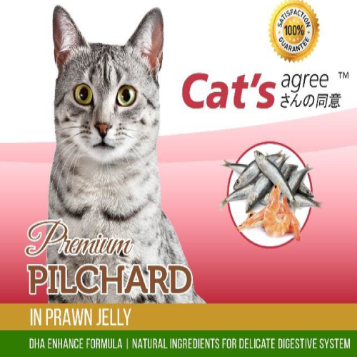 Cat's agree, Cat Wet Food, Premium Pilchard in Prawn Jelly (By Carton)